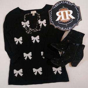LOFT Black Bow Sweater